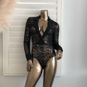 Black Lace V Neck Longsleeve Thong Bodysuit!
